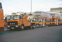 GMPTE ERF recovery truck at Bolton Bus Station on 21st May 1987 (Lady Wulfrun) Tags: bus buses station truck 1987 bolton erf northern recovery counties gmpte selnec