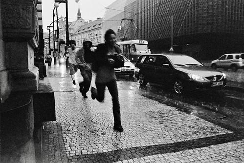 Running away from the rain - Prague