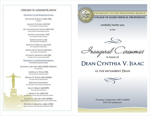 Inauguration Program Front-Back