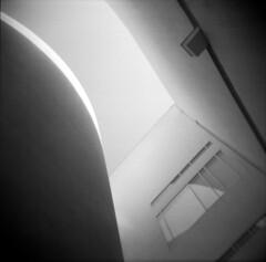 (ROB-AHN) Tags: barcelona light shadow blackandwhite bw 120 6x6 film window sepia architecture mediumformat holga spain barca fenster bcn lofi rob 120film architektur rodinal macba negativescan vignette toycam mnml rollfilm holga120n plasticlens apx400 ahn agfaapx400 rodinal125 mittelformat museud'artcontemporanidebarcelona robahn