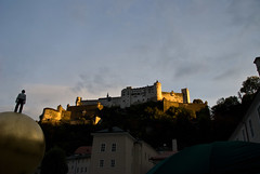 View from square up to castle in Salzburg