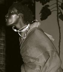 Masai Profile (The Wandering Angel) Tags: africa travel bw man face bronze dance jump kenya profile dancer tribal cultures masai sights mombasa