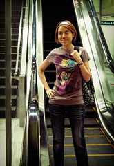T-shirt - Hello My Darling (am-y) Tags: city pink blue urban girl fashion yellow youth stairs train pose underground subway print asian town outfit lomo lomography singapore metallic maroon escalator chinese platform young style tshirt jeans cotton trendy backpack mauve denim casual accessories hip everyday mrt relaxed fas