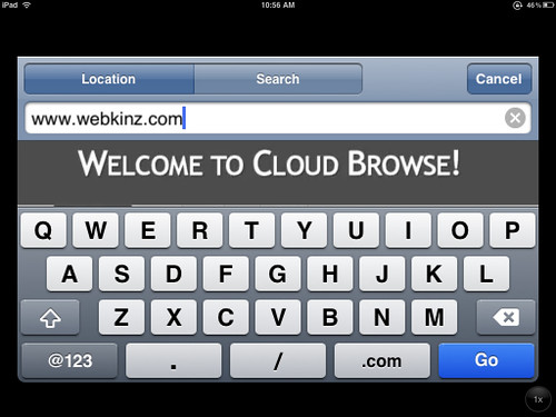 Enter a URL in Cloud Browse on the iPad