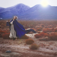 hitchhiker (brookeshaden) Tags: blue sunset red sun mountains dress desert brush dirt fabric flare cape hitchhiker brookeshaden butitwasntreallysunset