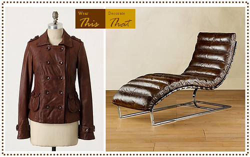 Brown Leather coat and chaise