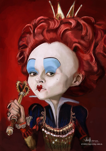 digital caricature of Helena Bonham Carter as The Red Queen - 2