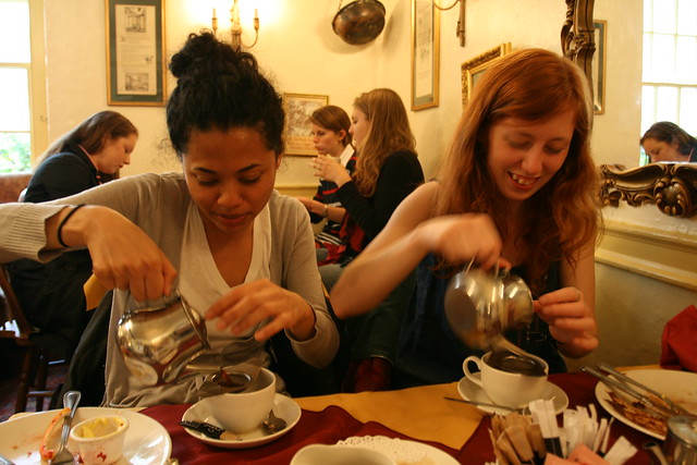 steph & chels, tea in bath