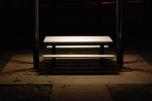 Picnic table at night