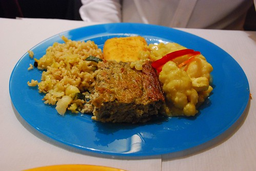 Spain: Vegetarian dish with brown rice, cheese, cauliflower and eggplants
