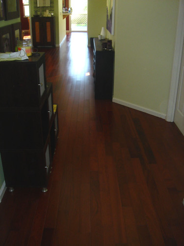 Finished wood floors looking down the hall