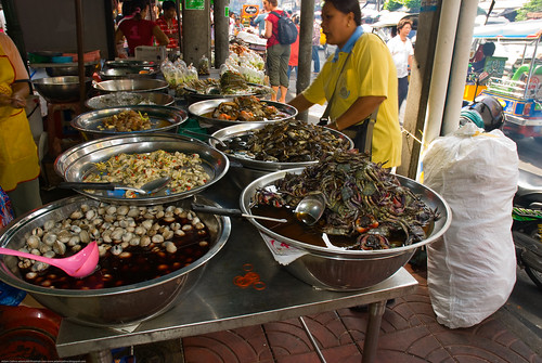 A seafood stall in Bangkok's Chinatown