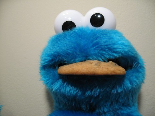 cookie monster eating a cookie
