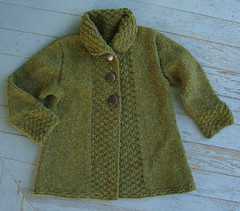 Drops Cardigan (flint knits) Tags: fern green drops knitting knit swing jacket cardigan 1031 chunky tweed greensweater rowanspun