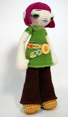 Paulette standing (ElisabethD) Tags: flower toy doll handmade crafts character crochet knit craft yarn softie softies kawaii daisy knitted amigurumi crocheted gourmetamigurumi