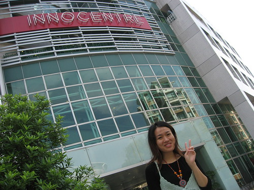 Amanda of JiJiJa tours me around InnoCentre