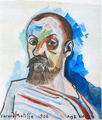 After Matisse 1906 13.5 x 11.75 inches (Fareed Suheimat) Tags: portrait selfportrait art watercolor painting french artwork watercolour 1906 matisse watercolours fareed fauves suheimat