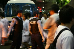 police skirmish with yakuza, finally completely ejecting them (flashlightfish) Tags: festival japan tokyo police yakuza matsuri japanesepolice torigoe torigoematsuri