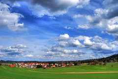 Gschwend (Sareni) Tags: trees houses sky colors grass clouds deutschland spring village august land hdr highdynamicrange 2010 twop gschwend sareni