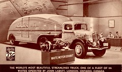 1936 White Streamlined Truck for Labatt's, Great Lakes Exposition (aldenjewell) Tags: white canada truck 1936 brewers postcard streamlined labatts greatlakesexposition