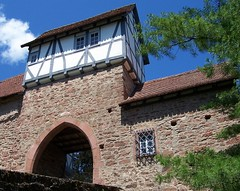 Schloss Hirschhorn (happycat) Tags: roof castle window wall germany gate hessen fenster tor schloss dach halftimbered burg mauer odenwald schlosshirschhorn facherk naturparkbergstraeodenwald hirschornneckar