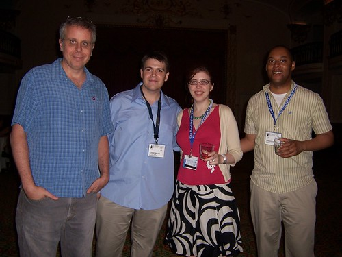 Tom Tomorrow, August Pollak, Mikhaela Reid and Masheka Wood at AAEC opening cocktail reception