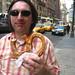 Eating a big pretzel in The Big Apple.