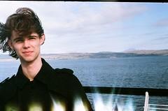 Luke, on ferry (dgrendon) Tags: ocean uk boy portrait people skye film ferry portraits hair island scotland isleofskye luke windswept indie isle sleat zorki4 soundofsleat
