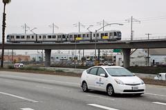 Gold Line (So Cal Metro) Tags: la losangeles metro lametro lacmta mta transit goldline lrt lrv tram lightrail toyota prius metermaid