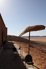 Front of hotel with panoramic view of the Sahara Desert and Foum Mharech