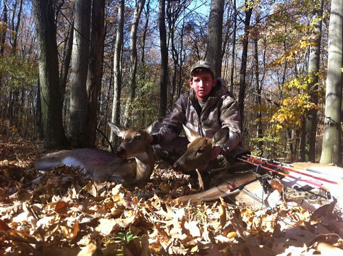 5135878067 6b9a0727cd Adam gets 2 Doe this morning #deerhunting #Michigan