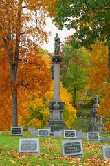 (bjchurch44) Tags: autumn sculpture newyork tree art monument cemetery flora seasons fineart structures filter gravestone marker syracuse oakwood locations venues colorefexpro contrastcolorrange