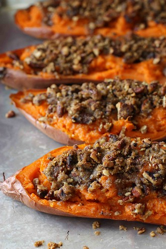 Twice-Baked Sweet Potato (Yam) Recipe with Chipotle Pecan Streusel...An all-time favorite for Thanksgiving! | cookincanuck.com