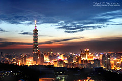 Taipei 101 Skyscraper * (*Yueh-Hua 2013) Tags: camera sunset building tower architecture night skyscraper canon buildings eos fine taiwan 101  taipei taipei101 dslr   tamron      30d  101  a16     canoneos30d horizontalphotograph tamronspaf1750mmf28xrdiii specobject  aplusphoto superbmasterpiece diamondclassphotographer taipei101skyscraper taipei101internationalfinancialcenter 2007june tigerpeak