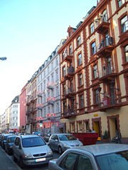 Brothel buildings in Frankfurt's red light district (Todd Mecklem) Tags: travel light red germany europe frankfurt district prostitution unusual redlightdistrict brothel brothels