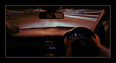 Interesting Light Trails From Car (David Kendal) Tags: longexposure light abstract motion colour night mercedes movement lighttrails motoring mercedesc180 mercedescclass mercedescclasssportscoupe