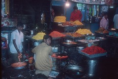 Food stall in Mumbay (Vin on the move) Tags: travel people food india tourism colors night holidays flash strobe mumbay argentic worldpeople nikonscanner 5photosaday nikon70f vin60 utata:project=nocturnal2 twtmesh140803