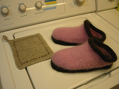 Felted Clogs and Potholder