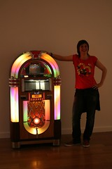 Posing with the jukebox (Ellie Harrison) Tags: party cake jukebox closingparty angelrow ellieharrison angelrowgallery alexanderstevenson