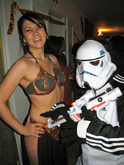 Ain't no party like a nerd party (emmastory) Tags: halloween starwars stormtrooper leia slaveleia halloween2010
