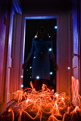 An Apparition (Chase Schiefer) Tags: light lightpainting sparkles painting fire scary dress ghost glowing glowstick sparks ghostly apparition strobe specter ghostpicture nikond40 chaseschieferphotography