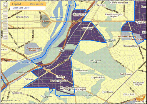 low-access neighborhoods just east of the Anacostia River in DC (by: The Reinvestment Fund)