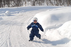 Boy in a hurry (GeirB,) Tags: winter boy snow sunglasses norway fun norge running tana sn finnmark leker bekkeli