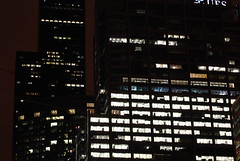 Gotham City (chicago_bear) Tags: lighting city light summer chicago building tower film june set skyline architecture night truck dark movie downtown loop sears nolan scene location crew hollywood rig heath batman chase knight production trailer gotham bale prop rigging freeman 2007 neeson rfk spotlights sighting ubs ledger rorysfirstkiss