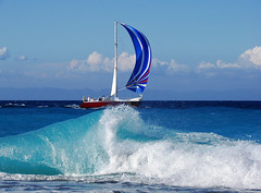 sailing.... (esther**) Tags: blue sea water clouds landscape boat bravo holidays mediterranean waves ship view wave greece topf150 topf100 rhodes soe interestingness5 holidaysvancanzeurlaub