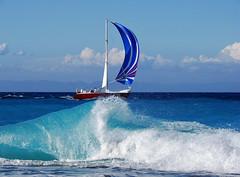 sailing.... (ester-**) Tags: blue sea water clouds landscape boat bravo holidays mediterranean waves ship view wave greece topf150 topf100 rhodes soe interestingness5 holidaysvancanzeurlaub