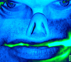 Irradiated (rcvernors) Tags: blue green strange face altered geotagged nose scary eyes digitalart freaky lips creepy computerart allrightsreserved nostrils photoshopart irradiated rcvernors altereduniverse
