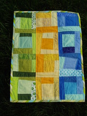doll quilt swap II--finished! (Hip To Piece Squares) Tags: blue green yellow quilt pieced dollquiltswap dqs2