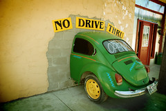 No Drive Thru (Wade Griffith) Tags: green sign wall vw volkswagen restaurant interestingness texas beetle explore drivethru wreck panhandle caude nikonstunninggallery wadegriffith2010