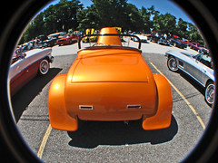 Big Booty (cw3283) Tags: orange cars ford antique fisheye vehicles fender windshield fin taillights antiquecars antiquecarshow highlightandshadow boothscorner